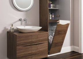 Пенал для ванной комнаты с корзиной для белья: угловые, зеркальные