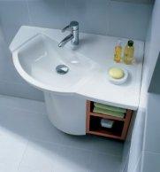 Угловые раковины для ванной с тумбой (44 фото): их виды, как